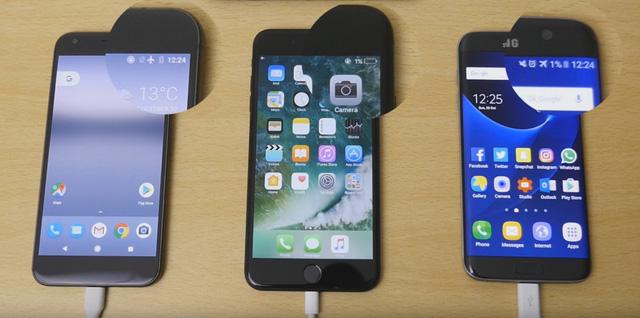 Sẽ ra sao nếu Samsung Galaxy S7 Edge – iPhone 7 và Google Pixel so tài sạc nhanh?