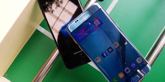 """""""Sự khác biệt"""" giữa Galaxy S7 Edge Blue Coral và iPhone 7 Jet Black"""
