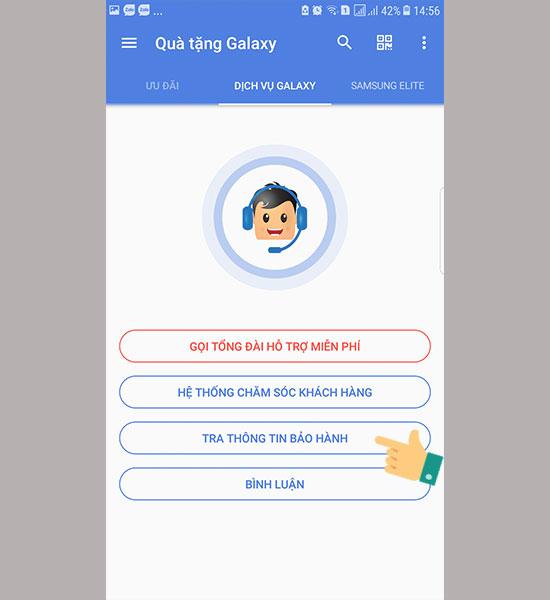 Kiểm tra bảo hành Samsung với ứng dụng Quà tặng Galaxy 01